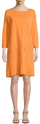 Joan Vass Petite Knit Zip-Pocket Shift Dress
