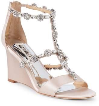 Badgley Mischka Women's Tabby Embellished Satin Wedge Sandals
