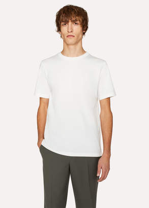 Paul Smith Men's Slim-Fit White Crew Neck T-Shirt With Embroidered Signature