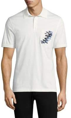 Salvatore Ferragamo White Wave Pocket Polo Shirt