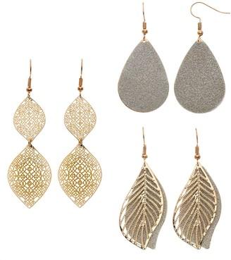 Mudd Nickel Free Leaf, Ogee & Teardrop Earring Set