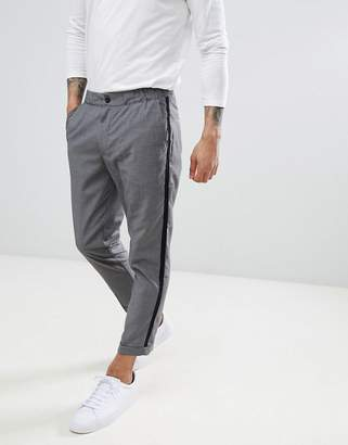 Pull&Bear Tailored PANTS In Gray With Side Stripe