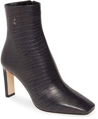 Jimmy Choo Minori Croc-Embossed Square Toe Bootie