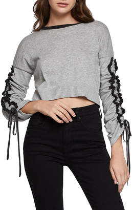 BCBGeneration Lace-Up Ruffle Cropped Sweater