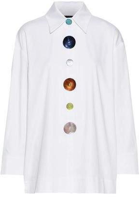 41c301029f81e1 Paper London Madonna Tie-back Button-detailed Cotton-blend Poplin Shirt