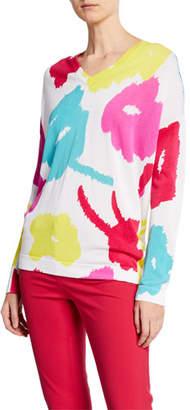 Escada V-Neck Abstract Daisy-Print Sweater