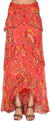 Etro Printed Pique Silk Maxi Skirt W/ Ruffles