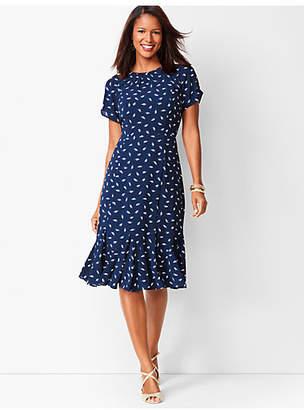 Talbots Leaf-Print Georgette Shift Dress