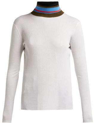 Proenza Schouler Pswl - Striped Roll Neck Cotton Sweater - Womens - Ivory Multi