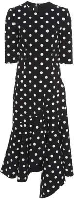Oscar de la Renta Asymmetric Ruffle Polka Dot Wool-Blend Midi Dress