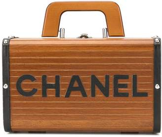 Chanel Pre-Owned wood structured logo tote