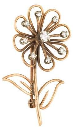 14K Diamond Floral Brooch