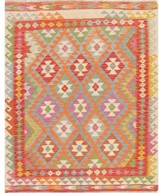"""World Menagerie One-of-a-Kind Wasdale Turkish Handwoven Flatweave 4'11"""" x 6'1"""" Wool Ivory Area Rug World Menagerie"""