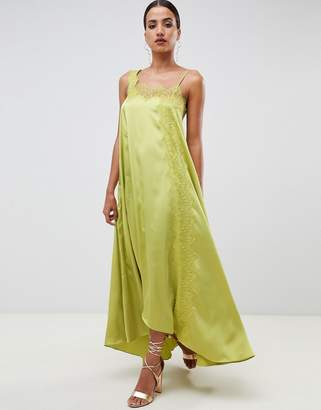 Asos Design DESIGN satin trapeze maxi dress with lace trim
