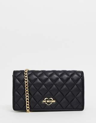 1df0982dfb2b Love Moschino quilted shoulder bag with gold chain strap