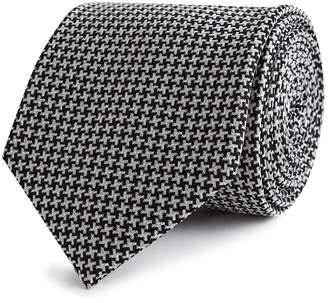 Reiss Our last order date for Christmas has now passed RYAN SILK HOUNDSTOOTH TIE Black/white