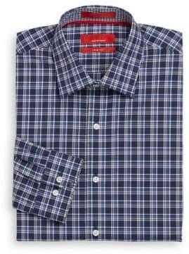 Saks Fifth Avenue RED Trim-Fit Plaid Cotton Dress Shirt