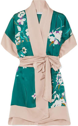 Carine Gilson Printed Silk-satin Robe - Emerald
