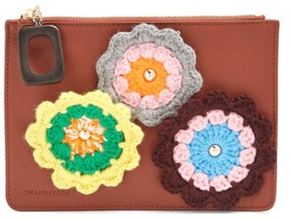 J.W.Anderson Daisies Crochet Leather Pouch - Womens - Tan Multi