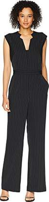 Tahari by Arthur S. Levine Women's Low V Star Neck Long Jumpsuit with Pin Stripe Pattern