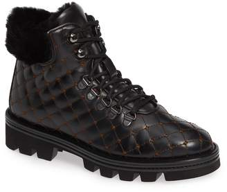 Pas De Rouge Lotty Quilted Genuine Sheep Fur Moto Boot