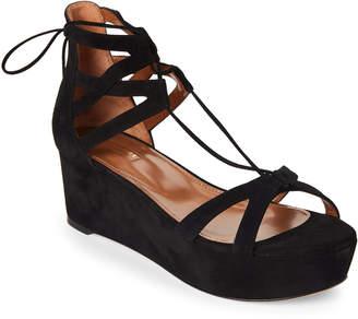Aquazzura Black Beverly Hills Suede Platform Sandals