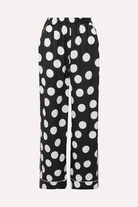 Dolce & Gabbana Polka-dot Silk-blend Satin Wide-leg Pants - Black