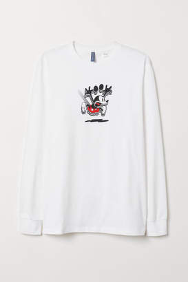 H&M Long-sleeved Jersey Shirt - White