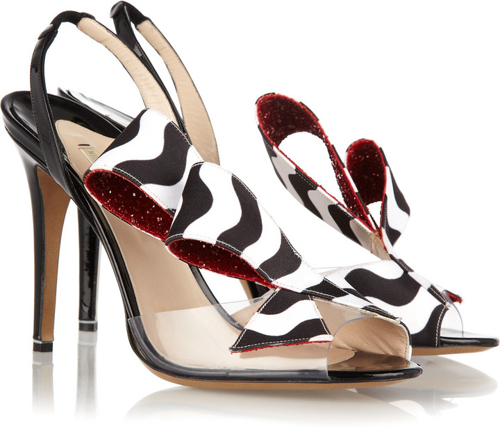Nicholas Kirkwood Printed satin and patent-leather slingbacks