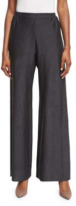 eskandar Flat-Front Flared Trousers, Charcoal