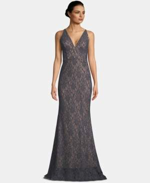 Betsy & Adam V-Neck Glitter Lace Gown