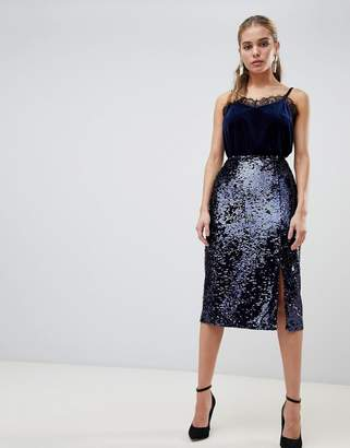 Fashion Union midi skirt with split in sequin