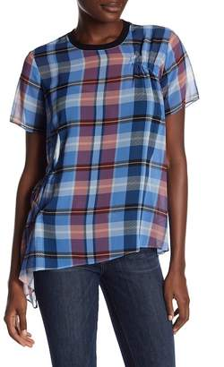 Opening Ceremony Short Sleeve Plaid Asymmetrical Blouse