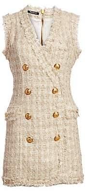 Balmain Women's Fringed Tweed Double-Breasted Mini Dress