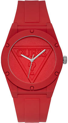 GUESS Iconic Logo Red Silicone Strap Watch 42mm
