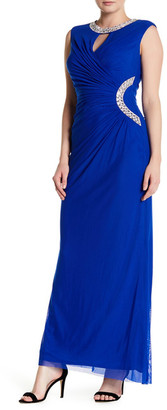 Marina Embellished Ruched Gown $180 thestylecure.com
