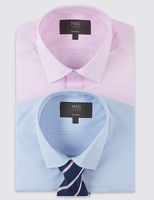 Marks and Spencer 2 Pack Regular Fit Shirts with Tie