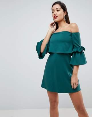 Bardot Asos Design ASOS Scuba Crop Top Fluted Sleeve Mini Dress
