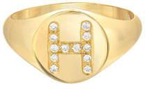 Zoe Lev Jewelry Small Personalized Diamond Initial Signet Ring, 14k Yellow Gold