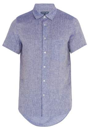 Frescobol Carioca - Point Collar Short Sleeved Linen Shirt - Mens - Blue