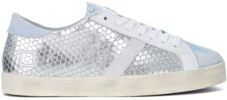 D.A.T.E Hill Low Pong Silver Laminated Honeycomb Leather Sneaker