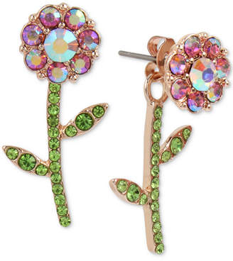 Betsey Johnson Rose Gold-Tone Crystal Flower Front-and-Back Earrings
