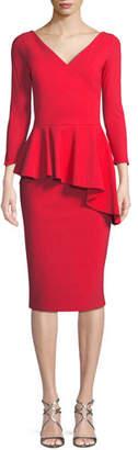 Chiara Boni Gitana V-Neck Dress w/ Asymmetric Peplum