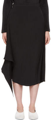 Issey Miyake Black Double Stream Pleats Solid Skirt