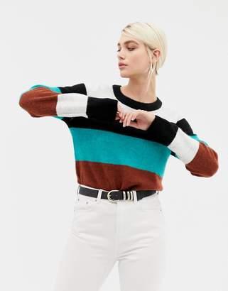 Selected long sleeve fine knit stripe sweater