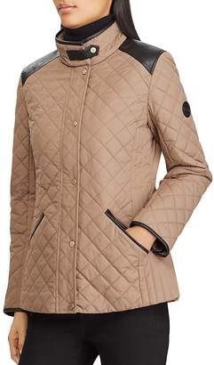 Lauren Ralph Lauren Faux Leather Tab Quilted Jacket