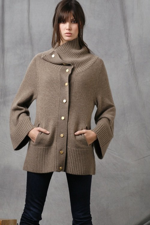 B. Chyll Alex Cashmere Bell Sleeve Sweater in Black, Heather Oatmeal, and White
