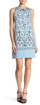 London Times Floral Print & Striped Shift Dress