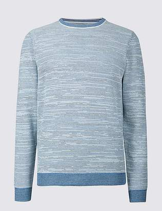 Marks and Spencer Pure Cotton Textured Slim Fit Jumper