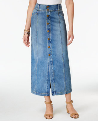 Style & Co Button-Front Midi Denim Skirt, Created for Macy's $59.50 thestylecure.com